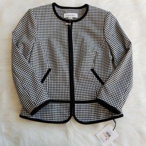 Calvin Klein Zip Up Black/White Checkered Blazer